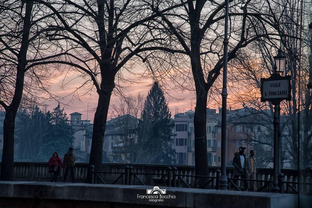 Lungoparma Parma Paesaggio Inverno Tramonto